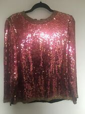 Vintage Pink Sequin Beaded Top Long Sleeve Size Xs/S