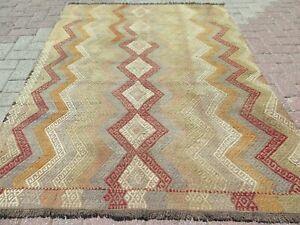 "Vintage Turkish Kilim Rug, 5x7 Rug, Area Rug, Carpet, Wool Rug, Teppiche 51""X69"""