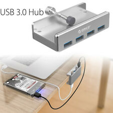 Aluminium 4 Port USB HUB 3.0 Desk Monitor Clip-type Extension For Mac PC