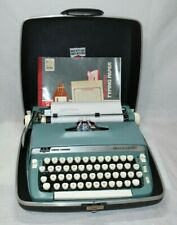 Smith Corona 1967 Blue/White Super Sterling Typewriter in Case + Typing Paper