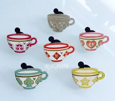 Disney 2015 Hidden Mickey Alice In Wonderland Mad Tea Party Teacups 6 Pin Set