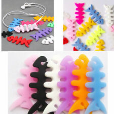 10 Colorful Fish Bone iPod Cable Wire Winders Headphone Earphone Cords Wrap Tidy