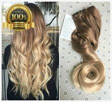 Top Quality Long 3/4 Full Head Blonde Ombre Dip Loose Curls Wavy Curly Clip in