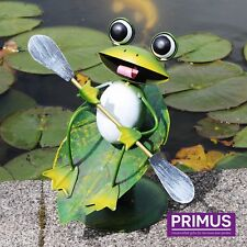 Primus Hand Crafted Surfin' Frog Metal Garden Wobbler Sculpture Ornament Animal