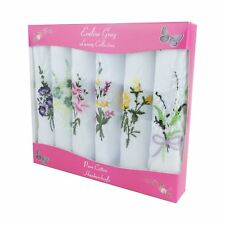 6 Pack Women's/Ladies Boxed White Handkerchiefs With Coloured Floral Embroidery