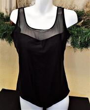 Catalina 2X(18/20W) Plus Maillot Swimsuit Black Mesh Padded Clip Back One Piece