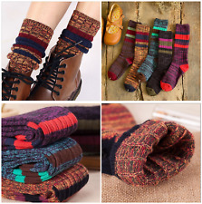 5 Pairs Women Combed Cotton Knee-High Warm Thick Knit Multi-color Boot Socks 5-9