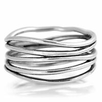 Solid Sterling Silver Freeform Wrap Wraparound Spiral Boho Ring Size H - T