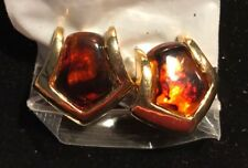 """vintage Earrings,clip ons, gold tone,1"""" Faux Tortoise,thick & Heavy"""