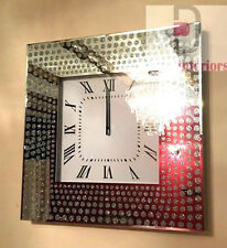 Shimmer Glitter Dot Crystals Mirrored Glass Silver Square Wall Clock 50 X 50CM