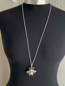 """A Tibetan Silver Bee Bumblebee Charm Pendant 38mmx40mm, 30"""" Long Chain Necklace"""