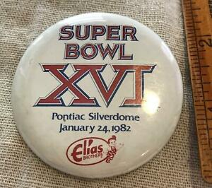 1982 NFL AFL Super Bowl 16 XVI Pinback Button Elias Brothers Bobs Big Boy