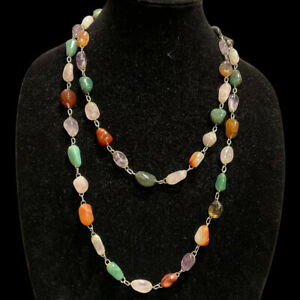 Vintage Necklace Polished Multicolor Stones Nugget Long Single Strand Chain