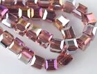 30pcs 6mm Cube Square Faceted Crystal Glass Charms Loose Beads Reddish Violet AB