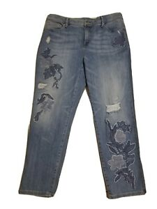 Chicos Jeans 1.5 So Slimming GF Crop Floral Applique Distressed Light Wash Denim