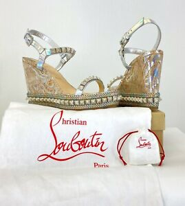 Christian Louboutin NIB Pira 11 US 42 EU Silver Shoes Wedges Studs Runway Bag