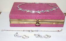 Vintage Rhinestone Necklace screwback Earrings Bracelet Set Tee Zee Velour Case
