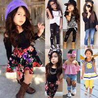 2tlg Kinder Mädchen Kleidung Sommer Freizeit T-shirt Tops + Hosen Outfits Set