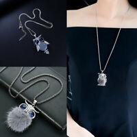 Crystal Fur Necklace Long Rhinestone sweater chain Owl Gift Women Tassel Pendant