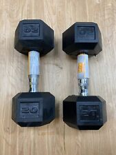 2 CAP 20 LB New Rubber Hex Dumbbell Weights Set Of 2 - Fast Free Shipping