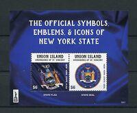 Union Island Gren St Vincent 2016 MNH Symbols New York NY2016 2v S/S I Stamps