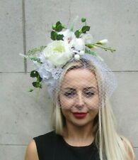 Bespoke - Only 1! White Cream Rose Birdcage Veil Fascinator Races Headpiece Hair