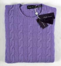$995 NWT - RALPH LAUREN PURPLE LABEL 100% Cashmere Cable Knit Sweater Purple XL