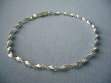 """NEW ITALIAN STERLING SILVER ANKLE BRACELET- 11""""-TWISTED SHIMMERY LINK ITALY 925"""