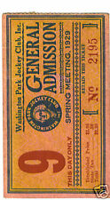 Washington Park 1929 horse racing ticket stub