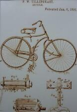 USA Patent Drawing TILLINGHAST BICYCLE tyre pedal MOUNTED PRINT 1891 Gift