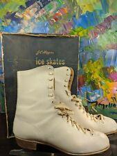 Vintage Sears Jc Higgins White Leather Womens Ice Skates Size 8 ->Last Chance!