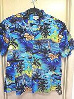 Royal Hawaiian Creations Men's 3XL Blue Floral Shirt Made In Hawaii Aloha Cotton