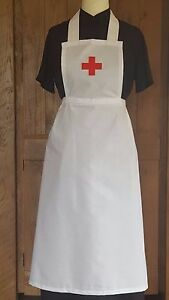 LADIES ADULT  NURSE FANCY DRESS RED CROSS FULL APRON Victorian Edwardian WW1