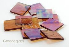 """125 Amber Cathedral Rr Iridized 1"""" Square Hand Cut Stained Glass Mosaic Tiles"""