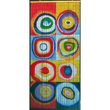 Beaded Door Curtains Bamboo Wall Hanging Drapes Room Divider Art Beads Circles