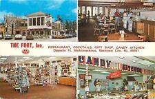 Mackinaw City~The Fort Inc~Cancy Kitchen w/Popcorn Machine 1960 Postcard Rack