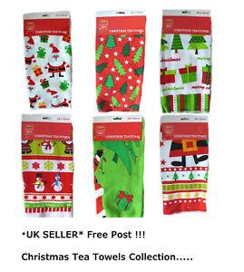Christmas Tea Towels Home Kitchen Cloth Novelty Xmas Gift Snowman Santa New UK