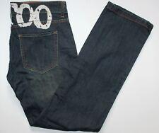 Ed Hardy Tattoo Jeans - 34 W x 32 L - Straight Fit - Dark Blue Denim - Womens