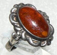 Ring 900er Silber 4,8 Gramm, mit Bernstein/Amber, Gr. 51 (16,2 mm Ø), (da2809)