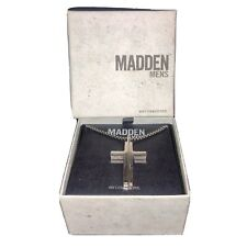 Steve Madden Split Cross Dog Tag Silver-Tone Stainless Steel Necklace For Men P2