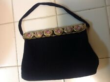 Vintage Black Beaded Evening Bag Made In France By Charbet
