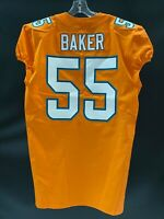 #55 JEROME BAKER MIAMI DOLPHINS GAME USED TEAM ISSUED ORANGE COLOR RUSH JERSEY