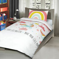 Unicorn Horse Magical Rainbow Girls Childrens Bedding Quilt Duvet Cover Set