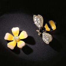 Cute Asymmetrical Bee Flower Stud Earrings Women Girl Ear Stud Fashion Jewelry