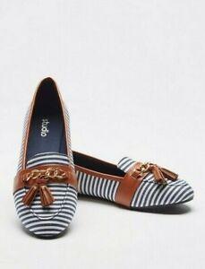 Womens Flat Shoes Wide Fit Size 3 Ballerina Stripe Tassel Chain Slip On Pump NEW