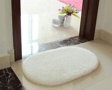White Oval Absorbent Soft Fluffy Door Mat Rug Floor Cover Pad Nonslip Carpet