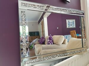 loose diamond diamante gems crushed jewelled mirror 60x40cm lounge bedroom bling