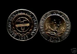 PHILIPPINES 10 PESOS KM-278 2003 BI METAL CONJOINED UNC PHILIPINO CURRENCY COIN