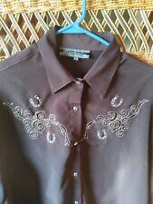 Daniali Cowboy Shirt Chocolate 3 XL Fancy Embroidered Rhinestone