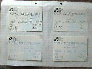 1980's The South Bank Centre Ticket Collection (4) Royal Festival QE Hall Ref:66